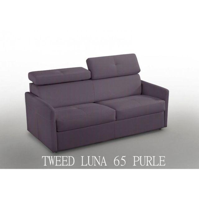 Inside 75 Canapé 2-3 places Paris 120cm Tweed purple Couchage Rapido matelas 16 cm