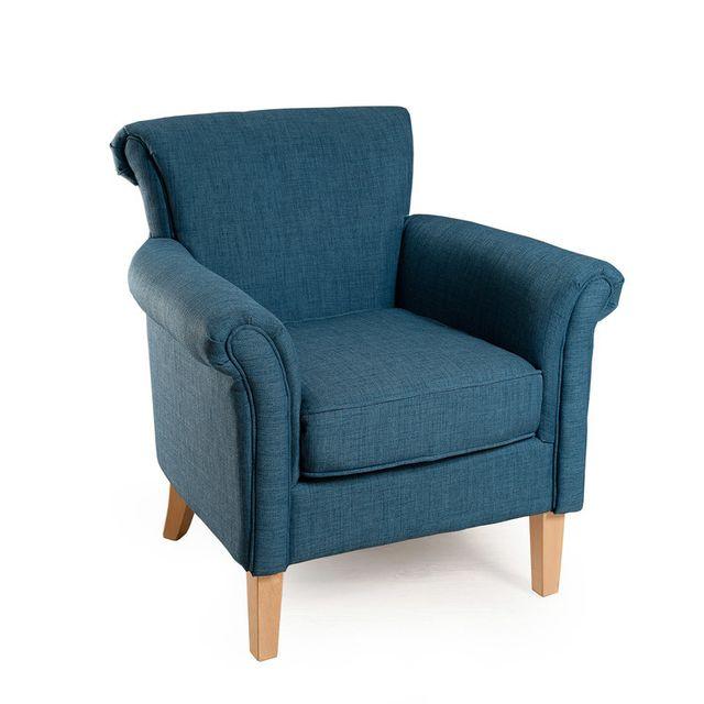 marque generique fauteuil en tissu et pieds en bois clover bleu canard - Fauteuil Bleu Canard Pas Cher