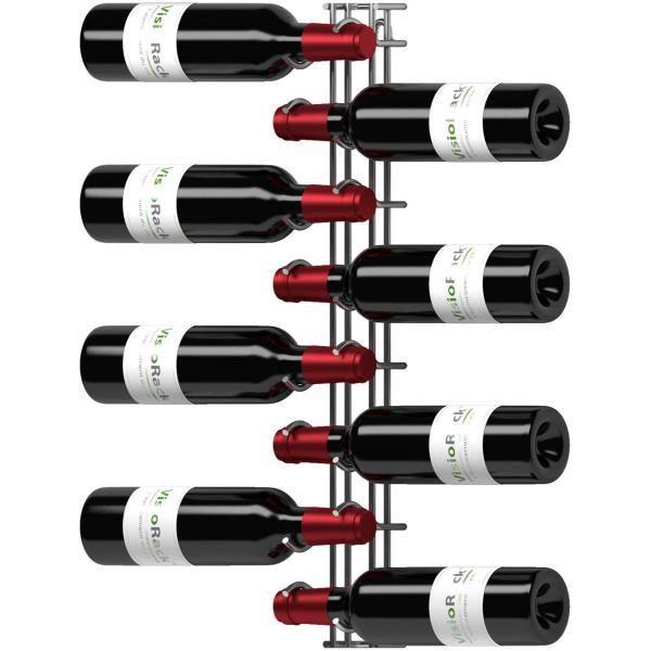 Visiorack Support mural de 8 bouteilles de 75cl en position horizontale - Chrome Aci-vis600