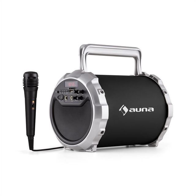AUNA DR. Bang ! Enceinte Bluetooth 2.1 USB SD AUX Batterie Micro inclus -noir