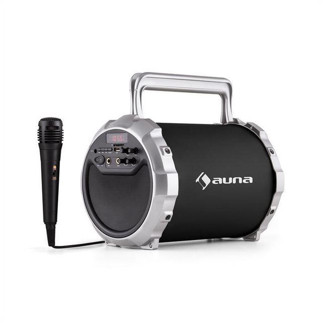 AUNA DR. Bang ! Enceinte Bluetooth 2.1 USB SD AUX Batterie Micro inclus -noir