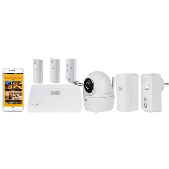 KODAK Pack Système d'Alarme SA101 + 1 Caméra de sécurité IP101WG + 2 Contacteurs de porte WDS801 + 1 Détecteur de mouvement WM