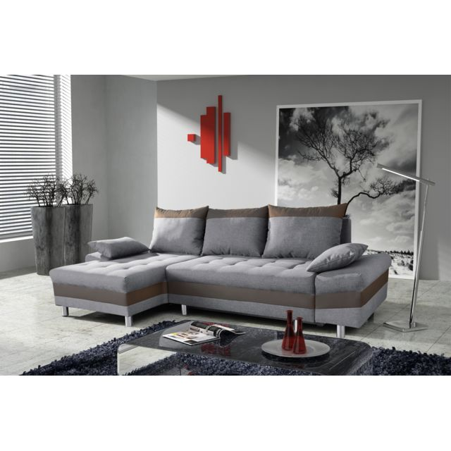 Modern Sofa   Canapé Bacau Gris Clair/marron Angle Gauche