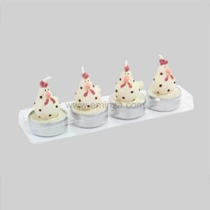 Eminza lot de 4 bougies poule lisa ecru pas cher achat for Eminza magasin