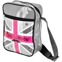 Promobo - Sacoche Besace Imprimé London Forever Drapeau Royaume Uni Idéal Tablette Appareil Photo Gris