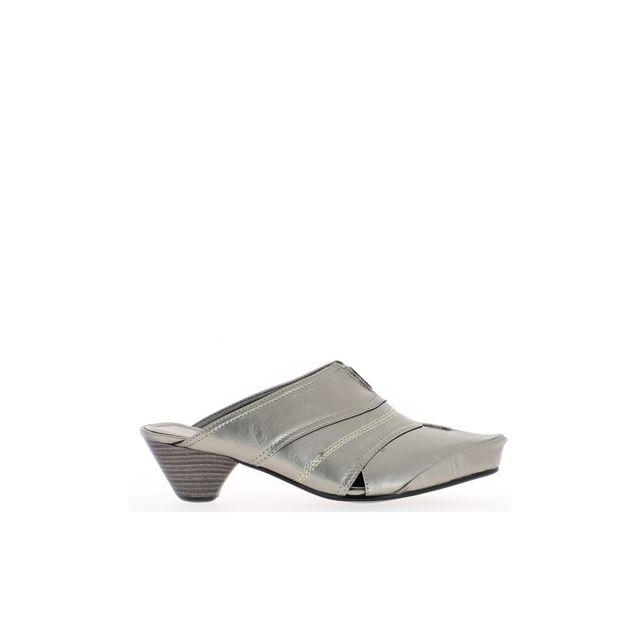 Chaussmoi - Sabots femme gris argentés bouts pointus à talons de 5 ... 3c923972d606