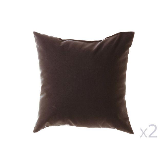 Dhf - Coussin uni déhoussable 100% coton 38x38cm - lot de 2 Romeo - Cacao 0cm x 0cm