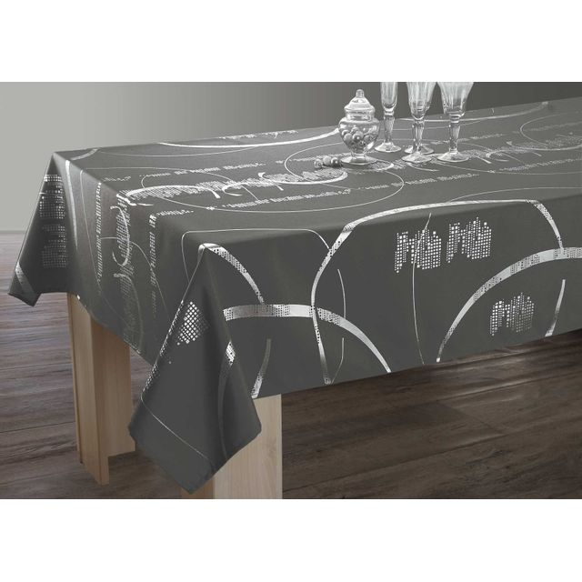 le linge de jules nappe shiny entretien facile gris. Black Bedroom Furniture Sets. Home Design Ideas