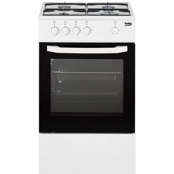 Beko cuisinière gaz 56l 4 feux blanc et noir - csg42000wn