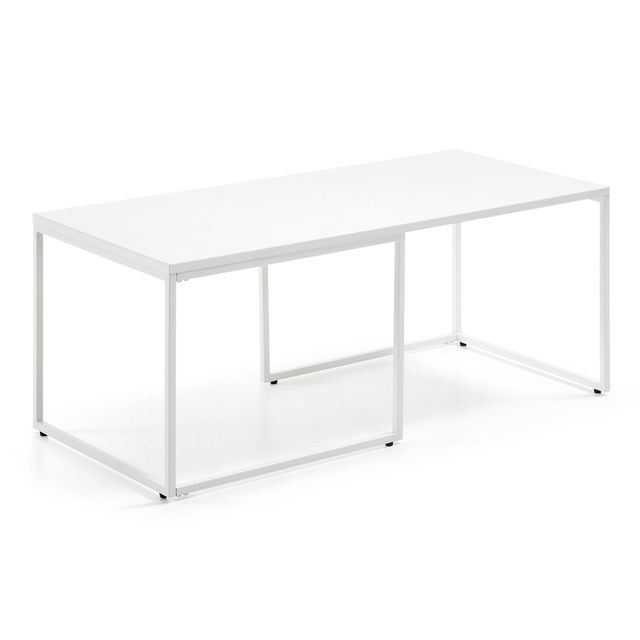 Kavehome Table basse Munch 110x50cm, blanc