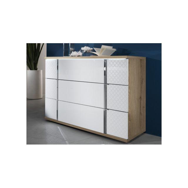 Commode CONSCIENCE - 3 tiroirs - Avec LEDs - Laqué blanc et chêne
