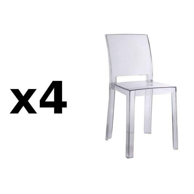 b273de13259f9b Inside 75 Lot de 4 chaises design Futura en polycarbonate transparent