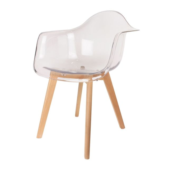 The Home Deco Factory Fauteuil scandinave - H. 86 cm - Transparent