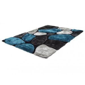 Marque generique tapis shaggy pietra turquoise et gris for Tapis turquoise gris