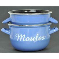 No Name - Marmite a moules avec inscription 1 personne 18cm bleu Tous feux dont induction