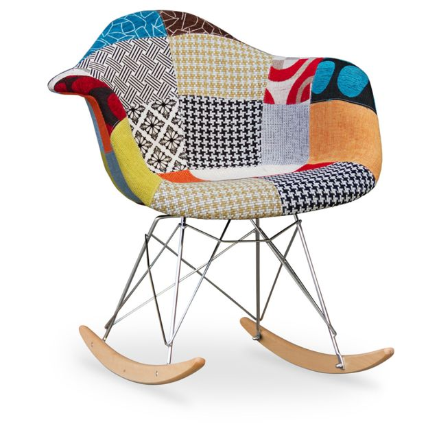 privatefloor chaise bascule rar charles eames patchwork pas cher achat vente chaises. Black Bedroom Furniture Sets. Home Design Ideas