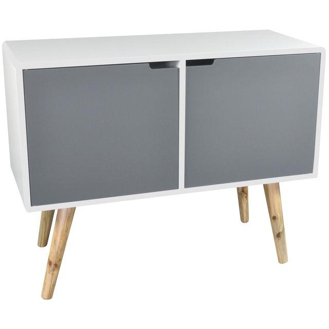 promobo meuble de salon support t l pieds bambou 2 portes rangement style zen pas cher. Black Bedroom Furniture Sets. Home Design Ideas