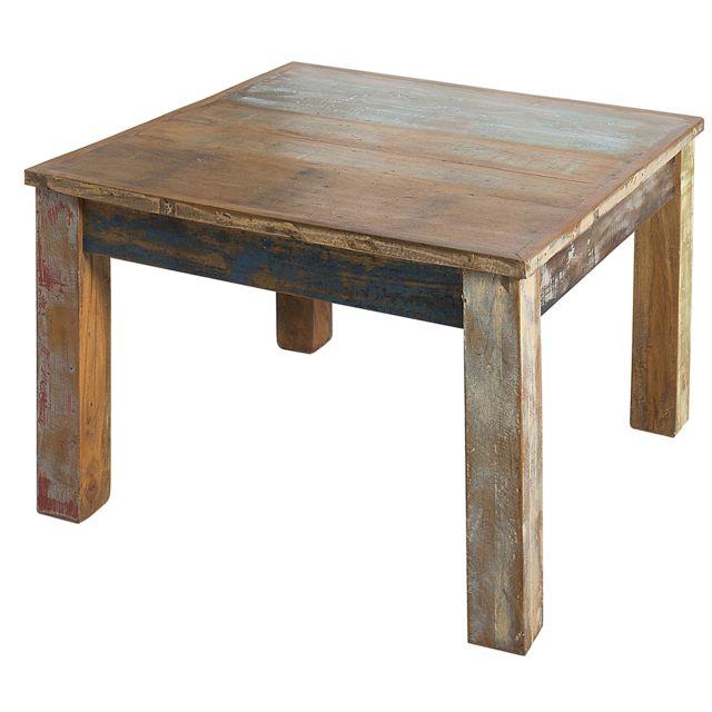COMFORIUM Table basse 60 cm en bois massif recyclé coloris naturel