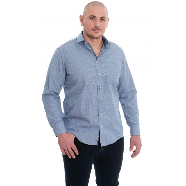 &TRADITION Chemise bleu à motif rectangulaire blanc