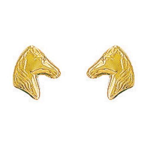 Sochicbijoux So Chic Bijoux © Boucles d'Oreilles Tête de Cheval Equitation Or Jaune 750/000 18 carats