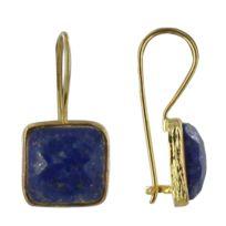 Les Poulettes Bijoux - Boucles d'Oreilles Argent Doré Crochet Carré Facettée de Lapis Lazuli