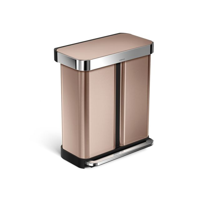 SIMPLEHUMAN - Poubelle de tri sélectif Step Can 24 + 34 L Or rose ...