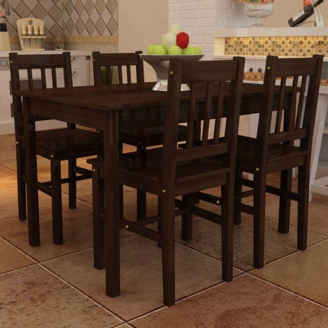 Magnifique Ensembles de meubles gamme Port Louis Table de salle à manger avec 4 chaises Marron