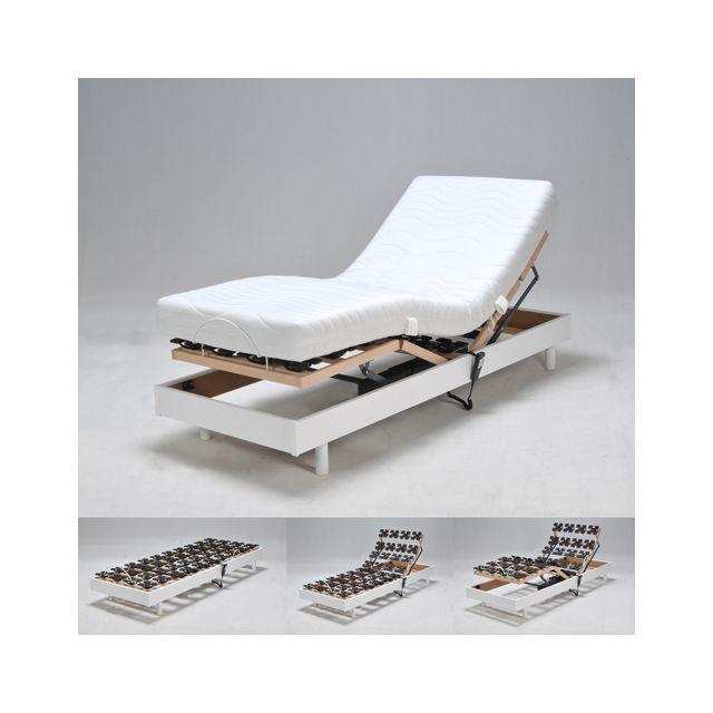 no name sommier relaxation lectrique flexpalace 80x200 t te et pied relevables blanc pas. Black Bedroom Furniture Sets. Home Design Ideas