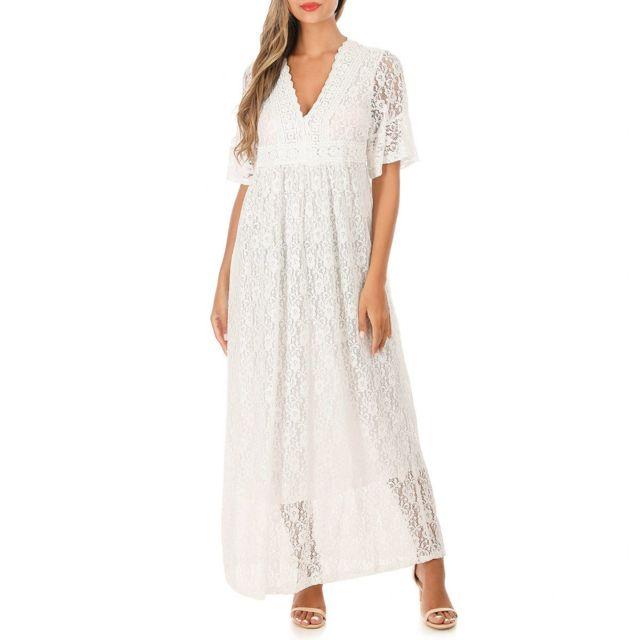 Lamodeuse Robe longue blanche en dentelle à manches