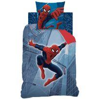 Spider-man - Housse de couette et taie d'oreiller 140x200 cm Spiderman Tower 100% Coton