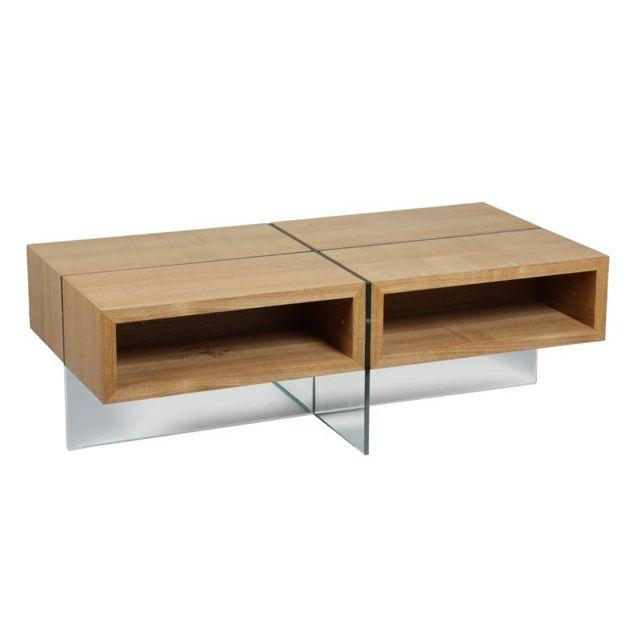 Dansmamaison Table basse verre et bois - Groz n°1 - L 120 x l 60 x H 40 cm