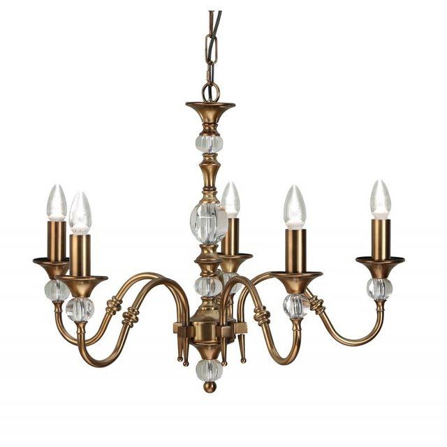 Interiors 1900 Suspension 5 ampoules Polina, laiton antique et cristal