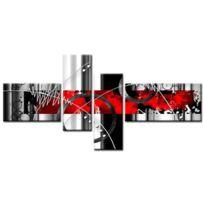 Aucune - Feu Tableau Multi Panneaux abstrait 140x70 cm rouge
