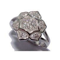 Fantzi - Bague fleur en argent rhodié avec oxydes de zirconium