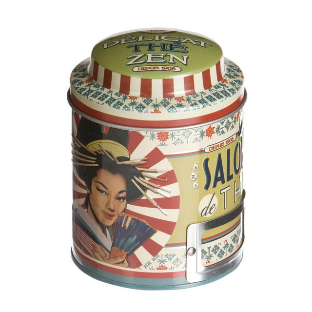 Natives Boîte à thé en vrac ronde en métal Salon de thé D.9xH.11.5cm Delicat The Zen