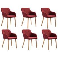 6 pcs Chaises de salle à manger Bordeaux Tissu et chêne massif