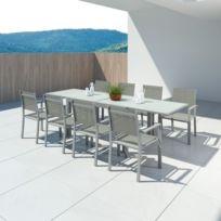 Fauteuils Hara Jardin Aluminium 140280cm8 Textilène Xl Table De Argentée Extensible shQdtr