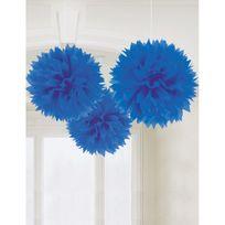 Amscan - Boules de décoration bleues x3