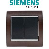 Siemens - Double Poussoir Anthracite Delta Iris + Plaque Bois Wengé