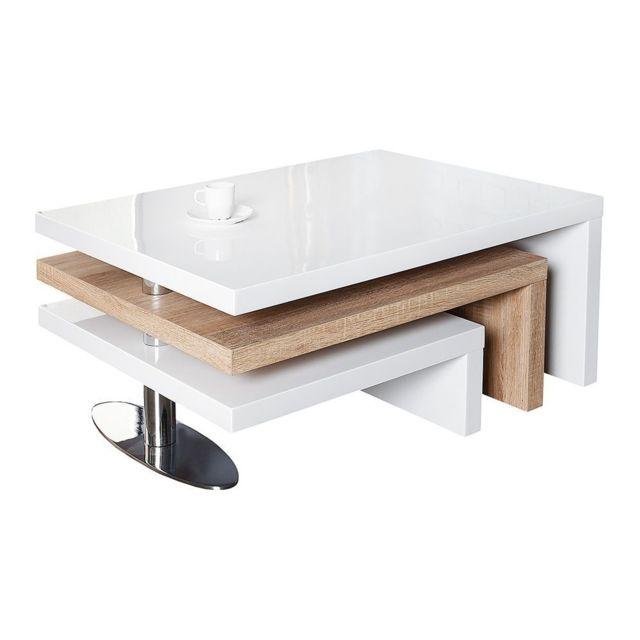 Comforium Table Basse Moderne En Mdf Coloris Blanc Laqué Et Chêne