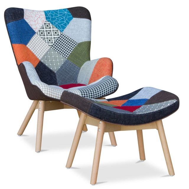 privatefloor fauteuil avec repose pieds contour patchwork design scandinave grant featherston style - Fauteuil Scandinave Avec Repose Pied