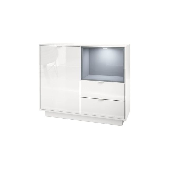 Mpc Commode 103 cm laqu? blanc avec insertion gris