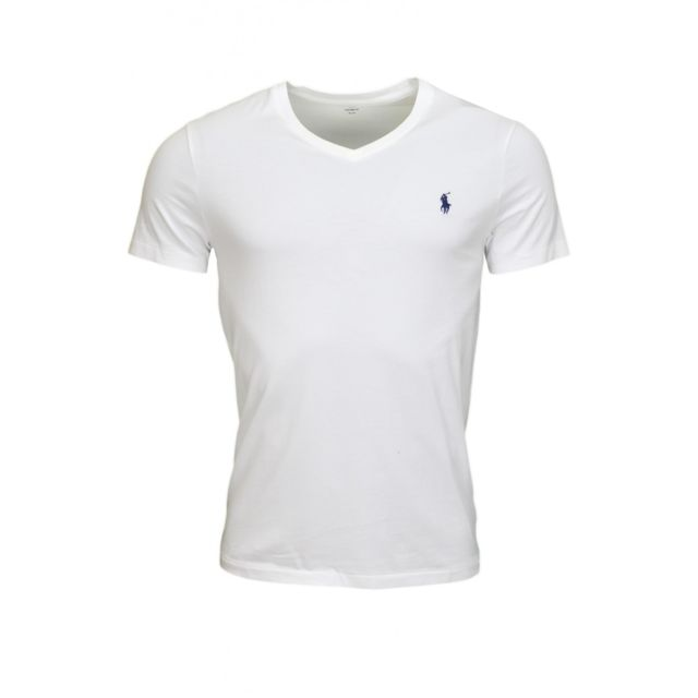 b604233b3e9c4 Ralph Lauren - T-shirt col V basique blanc pour homme - pas cher Achat /  Vente Tee shirt homme - RueDuCommerce