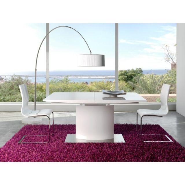 Ma Maison Mes Tendances Table à manger rectangulaire extensible 160-200cm en bois blanc laqué Aquila - L 160 x l 90 x H 76