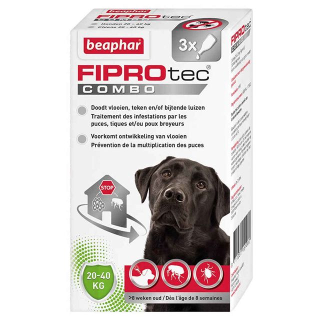 Beaphar Pipettes Anti-tiques Fiprotec Combo pour Grand Chien x3