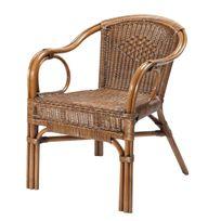 Rotin-design - Fauteuil en Rotin Marron - Palma - Fauteuil Colonial Empilable