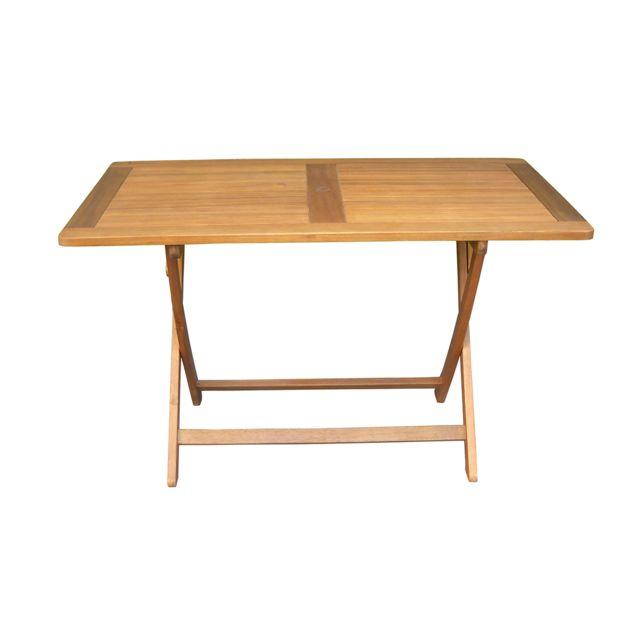 PEGANE - Table de jardin pliante forme rectangulaire en bois ...