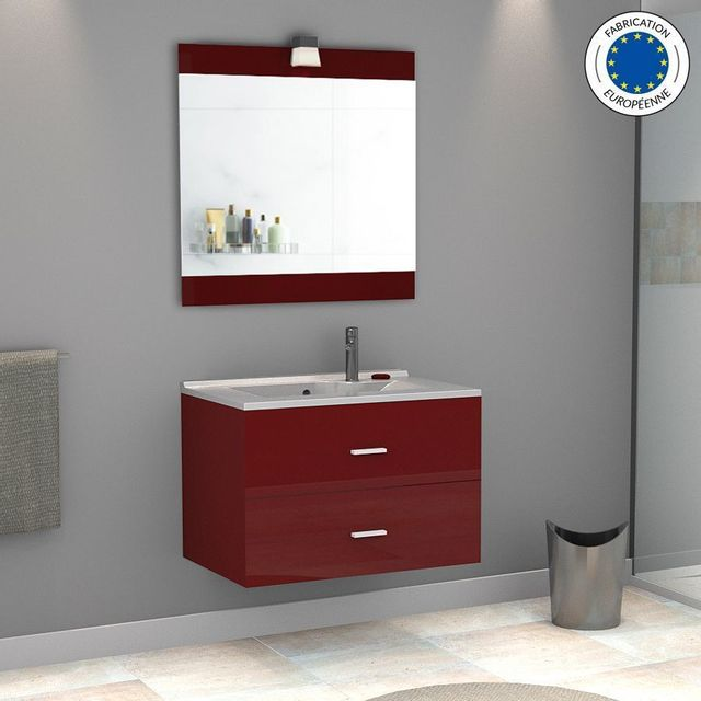 Creazur - Meuble salle de bain simple vasque Rosa 80 - Rouge ...