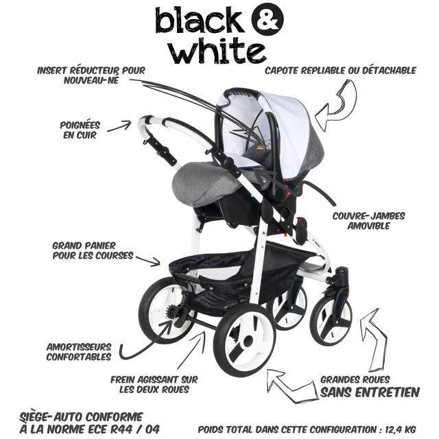 B&W - Poussette Combinée Trio 3 en 1 2017 - Landau, poussette promenade, siège auto Groupe 0/0+ - Nombreux coloris - Livrée avec ses accessoires