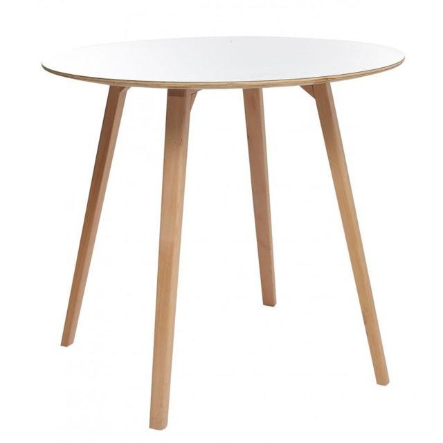 Meubletmoi Table de repas ronde style scandinave - Sweety